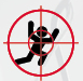 Logo Zielscheibe Mensch: Zeichnung. Rennender Mensch im Visier.