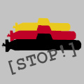 Button: Drei U-Boot-Silhouetten in den Farben schwarz-rot-gold, Aufschrift: »Stop!«.