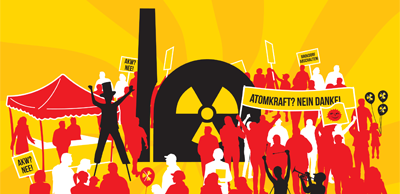 Grafik, Plakat: Symbolisches AKW, Protestler. Atomkraft? Nein Danke!