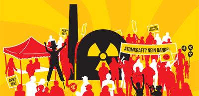 Grafik, Plakat: Symbolisches AKW, Protestler. »Atomkraft? Nein Danke!«