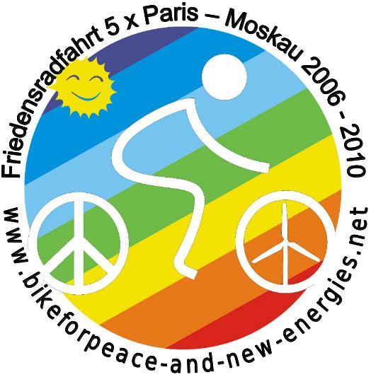 Bike for Peace Logo: «... 5mal Paris-Moskau ...».