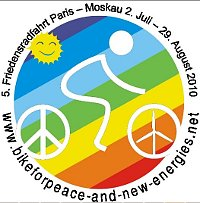 Logo Bike for Peace and New Energies. Friedensradfahrt 2010
